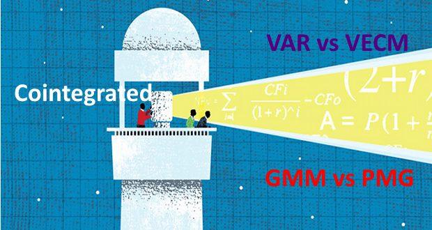 Nếu các biến có mối quan hệ đồng kết hợp thì mô hình VECM được sử dụng thay thế VAR. Trong dữ liệu bảng thì phương pháp PMG sẽ thay thế FEM/REM hoặc GMM