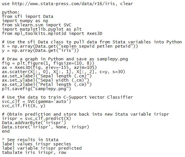 Khả năng tích hợp Python với Stata
